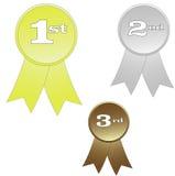 Award ribbons. Illustration of three award ribbons Stock Image