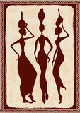 Illustration with three beautiful African women Royalty Free Stock Images
