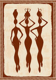 Illustration with three beautiful African women Royalty Free Stock Photos