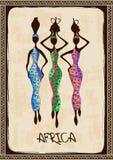 Illustration with three beautiful African women royalty free illustration