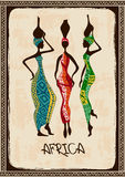 Illustration with three beautiful African women. Vintage illustration with three beautiful slim African women in colorful ethnic patterned dresses royalty free illustration