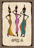 Illustration with three beautiful African women. Vintage illustration with three beautiful slim African women in colorful ethnic patterned dresses stock illustration