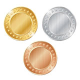 illustration of three blank coins on white background. EPS Royalty Free Stock Images