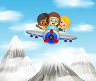 Three boy riding a plane over mountain. Illustration of three boy riding a plane over mountain Stock Photos