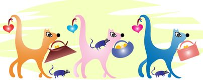 Illustration with three cats Royalty Free Stock Images