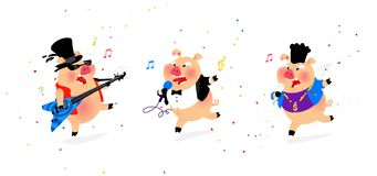 Illustration of three cheerful pigs musicians. Vector. Flat style. Pig rock musician, pig pop singer. Candy and holiday. stock illustration