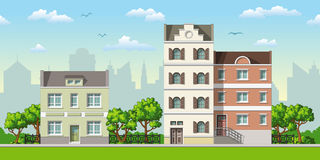 Illustration of three classic family houses Stock Photography