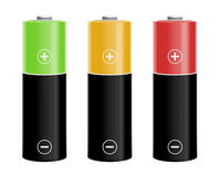 Illustration of three colored batteries Royalty Free Stock Photos