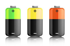 Illustration of three colored batteries Stock Photos