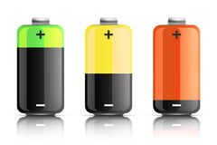 Illustration of three colored batteries Royalty Free Stock Image