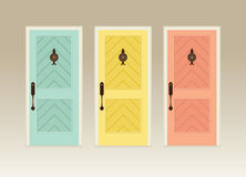 Illustration of three colorful front doors Royalty Free Stock Photography