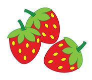Clipart of strawberries over white background. Illustration of three delicious and healthy strawberries. Clean design. Healthy lifestyle concept Stock Images