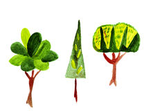 Illustration of three fabulous unusual trees, shrubs and leaves Royalty Free Stock Photography
