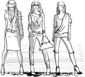 Illustration of three fashion girls Stock Photos