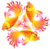 Illustration of three fishes playing. Royalty Free Stock Photos