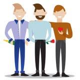 Illustration with three friends - romantic gentlemen. EPS 10 Stock Images
