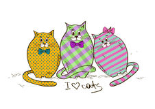 Illustration with three funny fat cats Royalty Free Stock Images