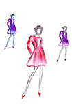 Illustration of three high female in colorful short dress Royalty Free Stock Photos