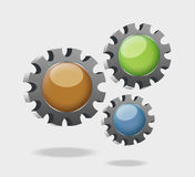 A illustration with Three jagged wheels going Royalty Free Stock Photos