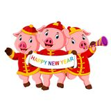 Three little pigs are celebrating chinese new year with the party. Illustration of three little pigs are celebrating chinese new year with the party vector illustration