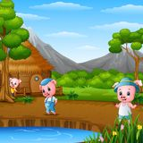 Three little pigs are doing activity. Illustration of Three little pigs are doing activity Stock Photo