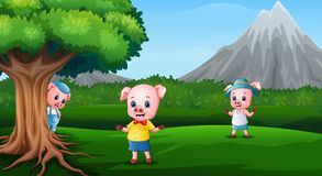 Three little pigs are playing together. Illustration of Three little pigs are playing together Royalty Free Stock Photos