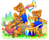 Illustration of three little teddy bears playing musical instruments in the orchestra. stock illustration