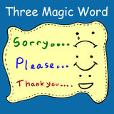 Illustration for Three Magic Words Stock Images