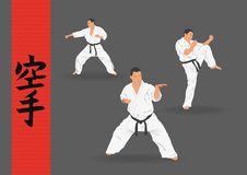 Illustration, three men demonstrate karate. On a dark background Royalty Free Stock Images