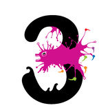 Illustration of Three Number with monster. Design numbers set Stock Photos