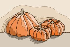 Illustration three pumpkins Royalty Free Stock Photo