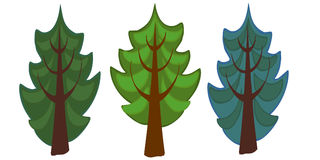 The illustration of three spruce cartoon trees. Stock Photo