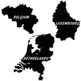 Benelux states. Illustration of the three states of Benelux Stock Images