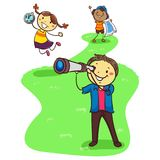 Illustration of Three Stick Kids Exploring while holding Geographic Objects. Vector Illustration of Three Stick Kids Exploring while holding Geographic Objects Royalty Free Stock Photography