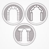 Illustration of three types brick arch icon. Design element with three gray brick arch different shapes. Vintage style round line icon for some architecture stock illustration