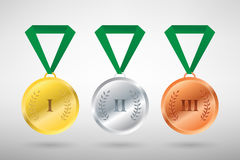 Illustration of three winners sports style medals. For first second and third prize Royalty Free Stock Photo