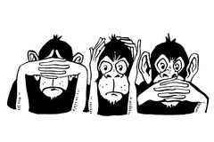 Three wise monkeys. Illustration of three wise monkeys in monochrome, from left to right,  see no evil, hear no evil and speak no evil, white background Stock Photo