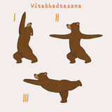 Illustration of three yoga bears Royalty Free Stock Images