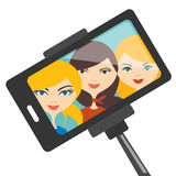 Illustration of three young girls making selfie photo. Royalty Free Stock Photo