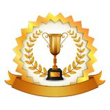 Thropy with gold label and gold ribbon royalty free illustration