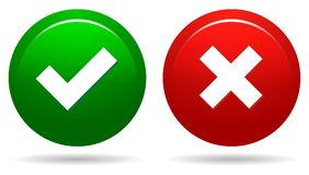 Tick and cross. Illustration of tick and cross round web buttons on white background vector illustration