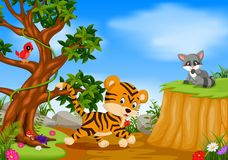 Tiger, bird and raccoon with mountain cliff scene stock illustration