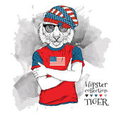 Illustration of tiger hipster dressed up in the glasses and in the t-shirt with print of USA flag. Vector illustration. Royalty Free Stock Photo