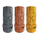 Illustration of tiki statues in stone, wood and gold - Vector EPS8. An isolated illustration of hawaiian tiki totems made of stone, carved wood and gold. It can Stock Photos