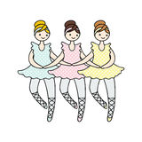 Illustration of tilda doll ballerinas during small swan dance. Royalty Free Stock Photography