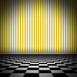 Illustration of tiled floor with yellow striped we Royalty Free Stock Image