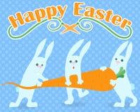 Illustration till dagen av påsken, den roliga för påskkanin för tecknad film tre bärande moroten och `en för påsk för ord` den ly Royaltyfria Foton
