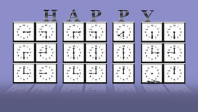 2014 time clock. Illustration with 2014 time clock on white background Stock Photos