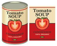 Illustration of a tin can with label tomato soup Stock Photography