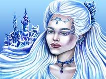 Illustration tirée d'un fille-hiver illustration libre de droits